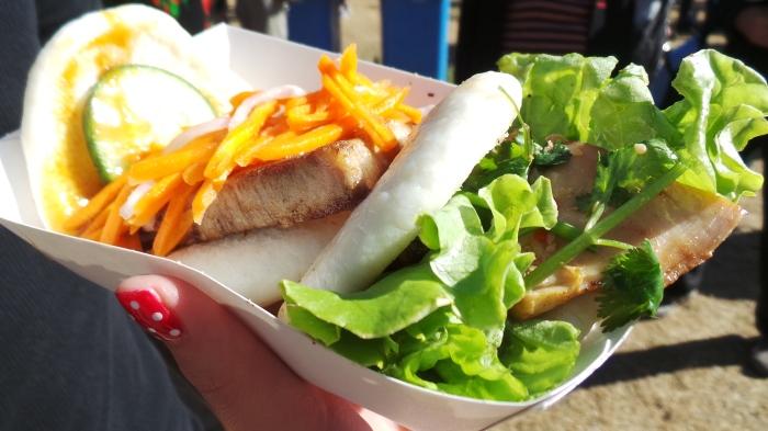 Gua Baos- Twice cooked Pork Belly & BBQ Cumin Chicken, $7