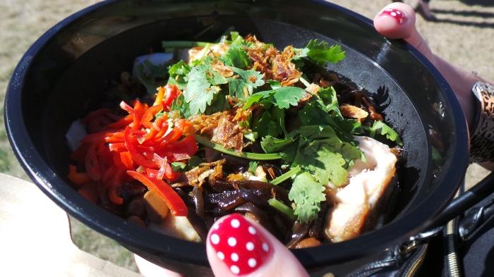 Grilled chicken, rice noodles, coriander, yellow bean, $14