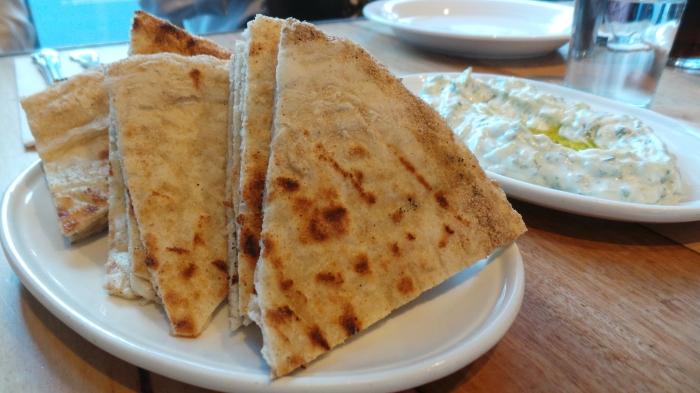 Grilled Pita Bread, $4.5 & Tzatziki, $9
