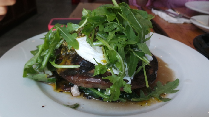 Mushroom stack w/ spinach, feta, poached egg and basil pesto GF $15.5