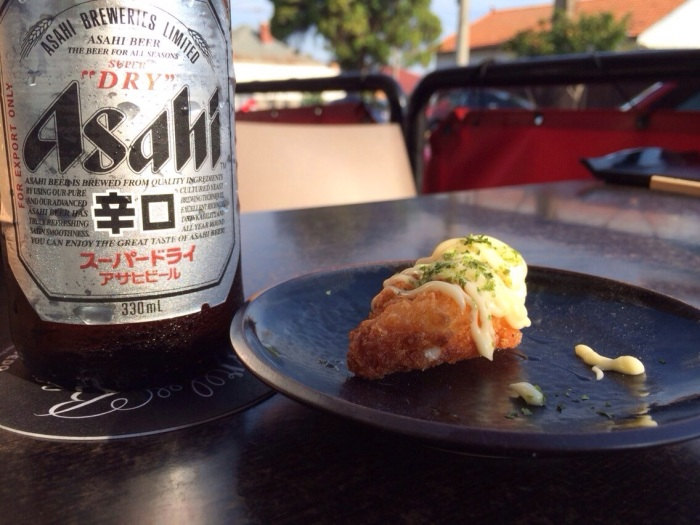 Complimentary prawn croquette with your beer