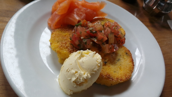 The melbourne pantry cold smoked salmon with corn & polenta fritters & a tomato dill salsa, $17