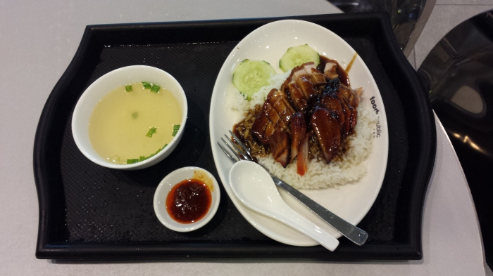 Pork on Rice with soup, approx $4.50