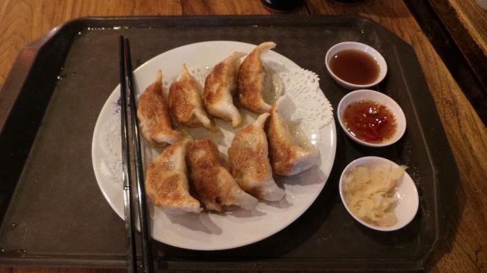 Pan-fried pork dumplings, approx $3